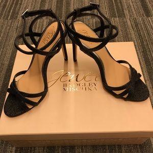 Jewel Badgley Mischka Glittery Strap Heels